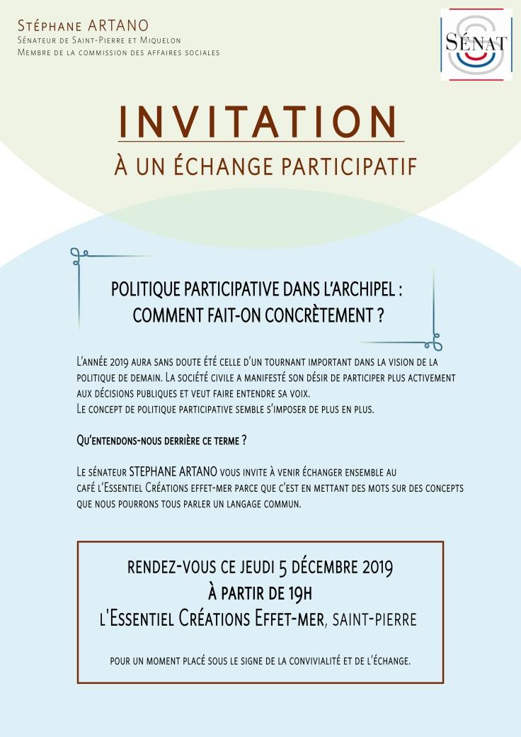 Invitation échange participatif - Stéphane Artano